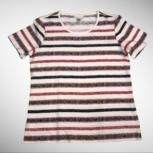 Christopher & Banks Red White Blue striped Tee